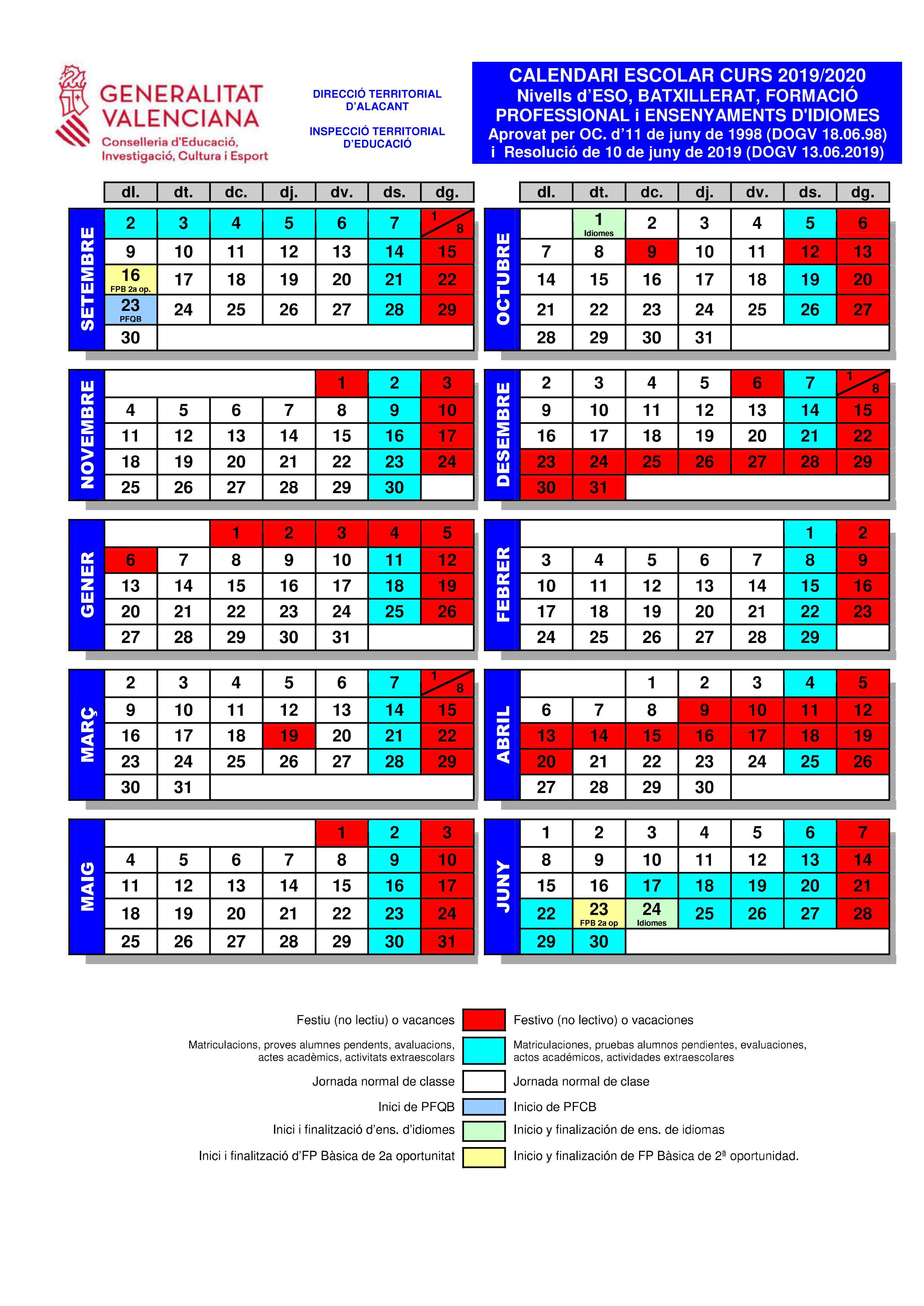 Calendario Academico 2020 16.Top 10 Punto Medio Noticias Calendario 2019 Escolar 2020 Alicante